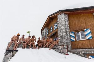 Gruppenfoto vor der Carschina Hütte